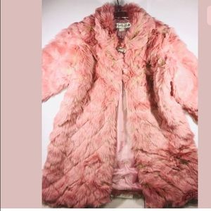 Trish Scully Cape Coat Fur Jacket Girls PINK 26